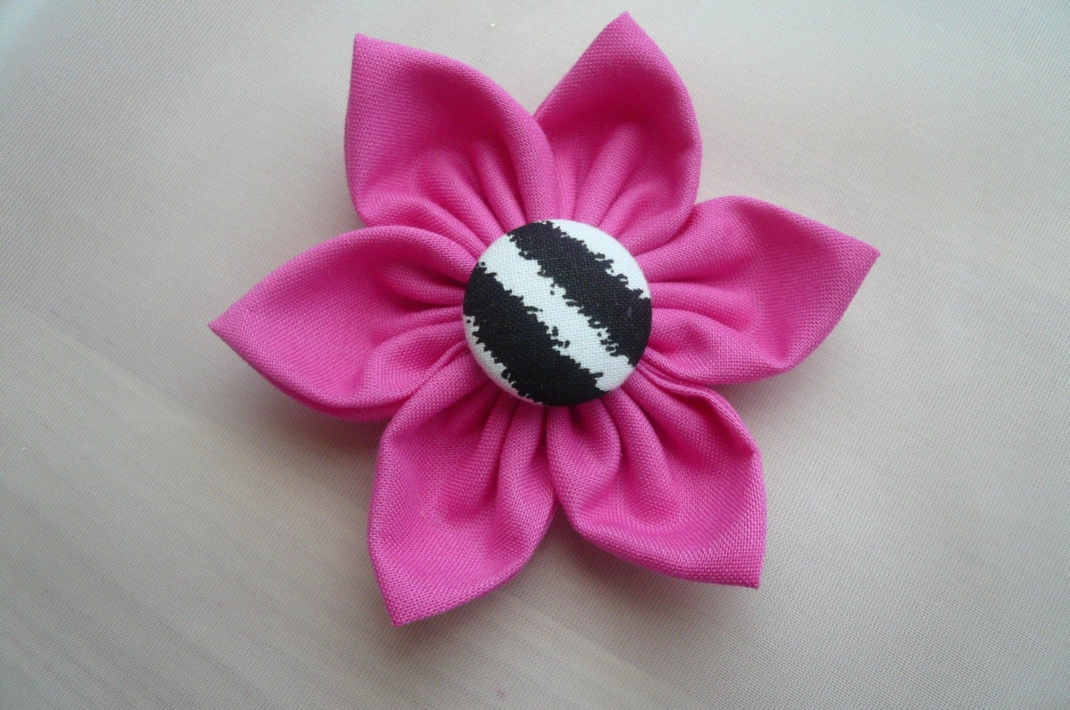 New Item Super Sale.. HOT Pink fabric flower clip/hair bow with zebra print covered button  baby/toddlers/girl/women