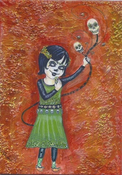Little Catrina Mixed Media Original Collage Painting