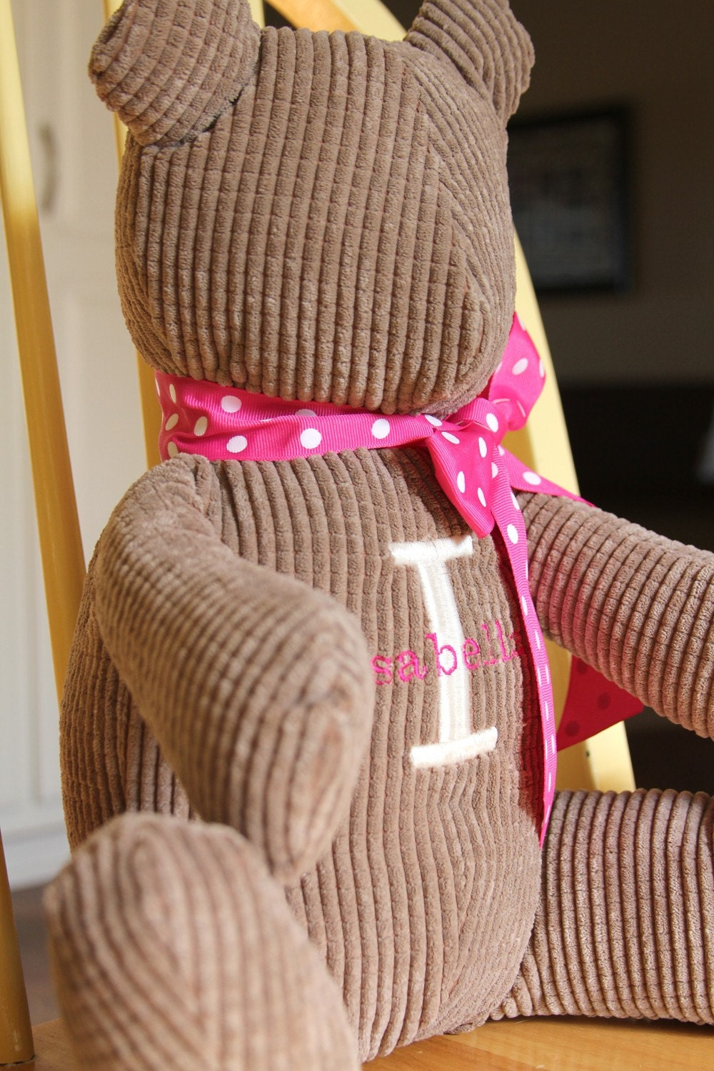 Teddy Bear  Personalized with Inital and Name - Treasured Keepsake - Perfect Baby or  Child's Gift