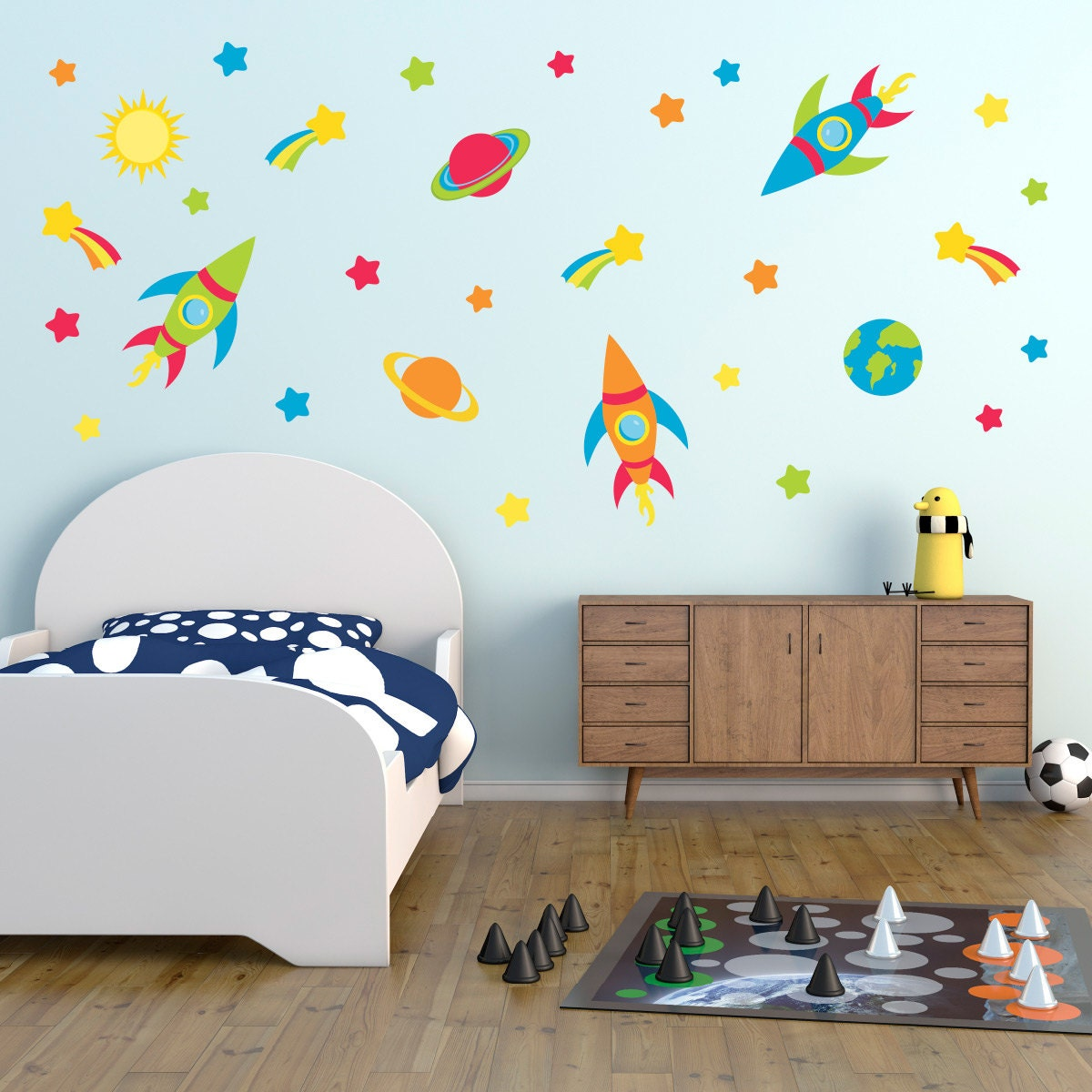 Space Wall Stickers Rocket Wall Decals Space Planets Wall Art Star Wall Transfer  Full Colour Wall Stickers  PPA014