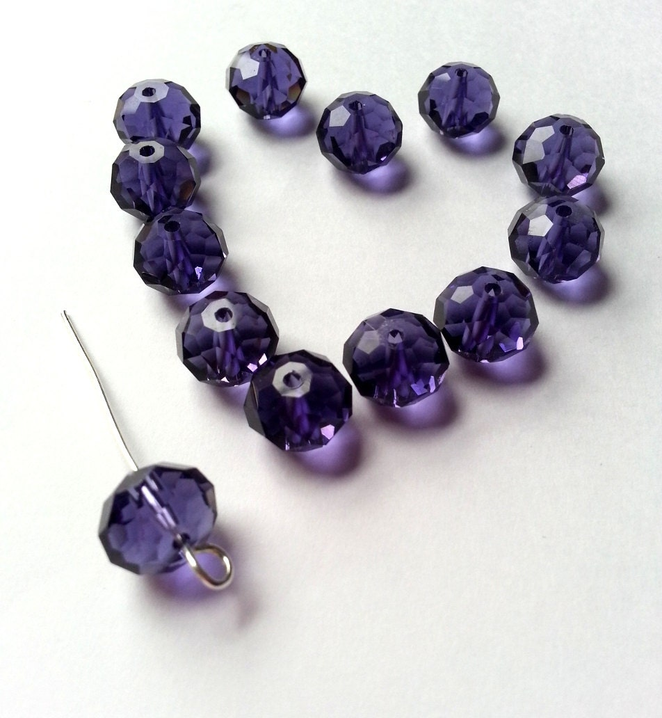 Purple crystal rondelle 6 x 9mm glass beads destash 12 pcs - beachseacrafts
