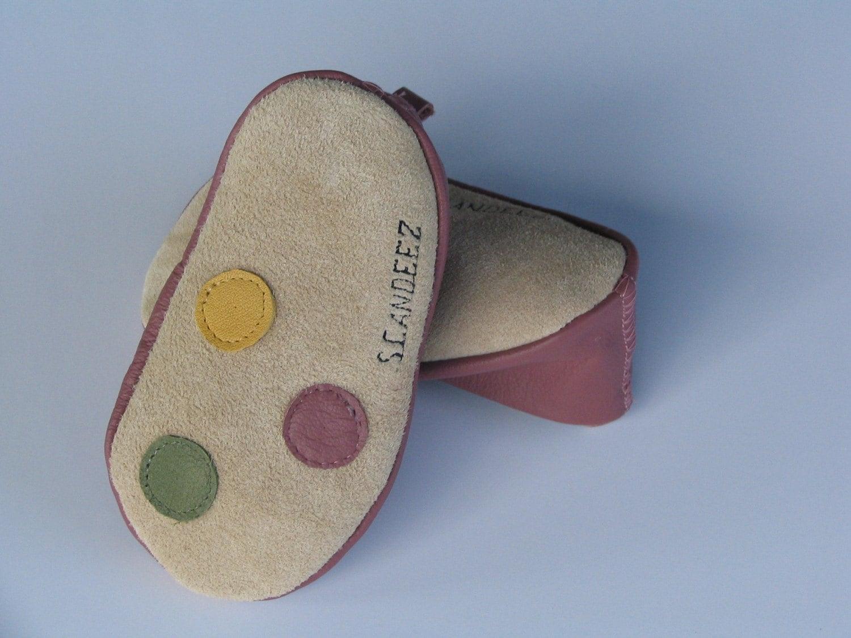 Baby Leather Dots Moks Sz 0-3M