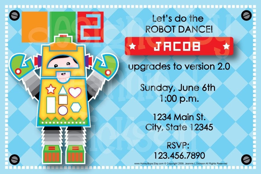 Robot Boy Announcement Birthday Invite  You can EMAIL by HoneyBops