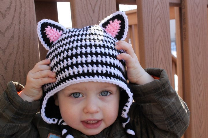 Crochet Zebra Hat : Crochet Zebra hat by KrazyHats1 on Etsy