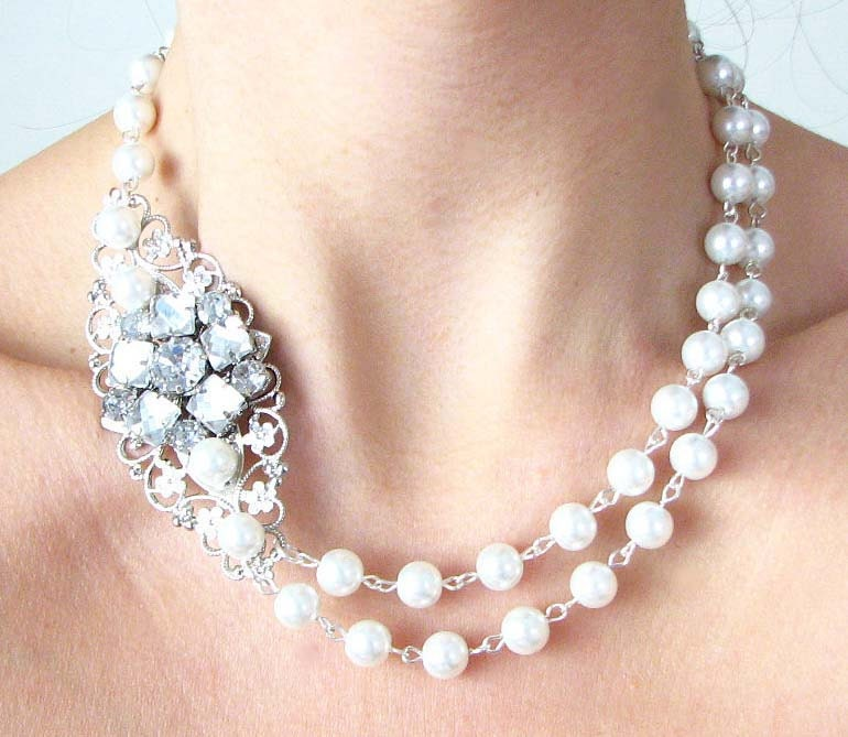 Bridal Jewelry Wedding Statement Necklace Bridal Wedding Jewelry Rhinestone Double Strand Bib Necklace