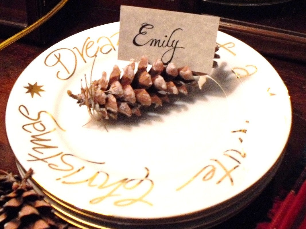CUSTOM ORDER RESERVED FOR ALICEJOLLY - Eco-Friendly Pine Cone Place Card Holders and Place Cards (Set of 60)
