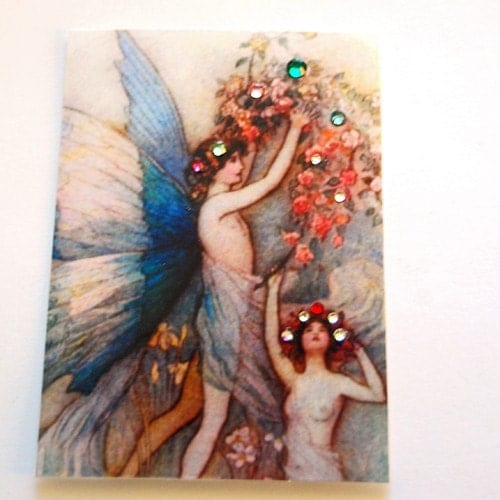 ACEO Blue Fairies photo collage art card Swarovski crystals