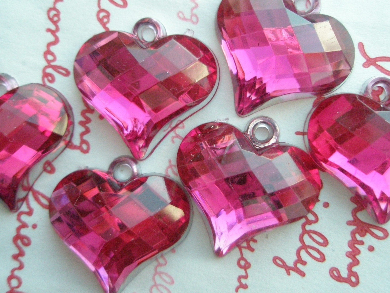 Clear HOT PINK chunky faceted Heart gem charms 6pcs