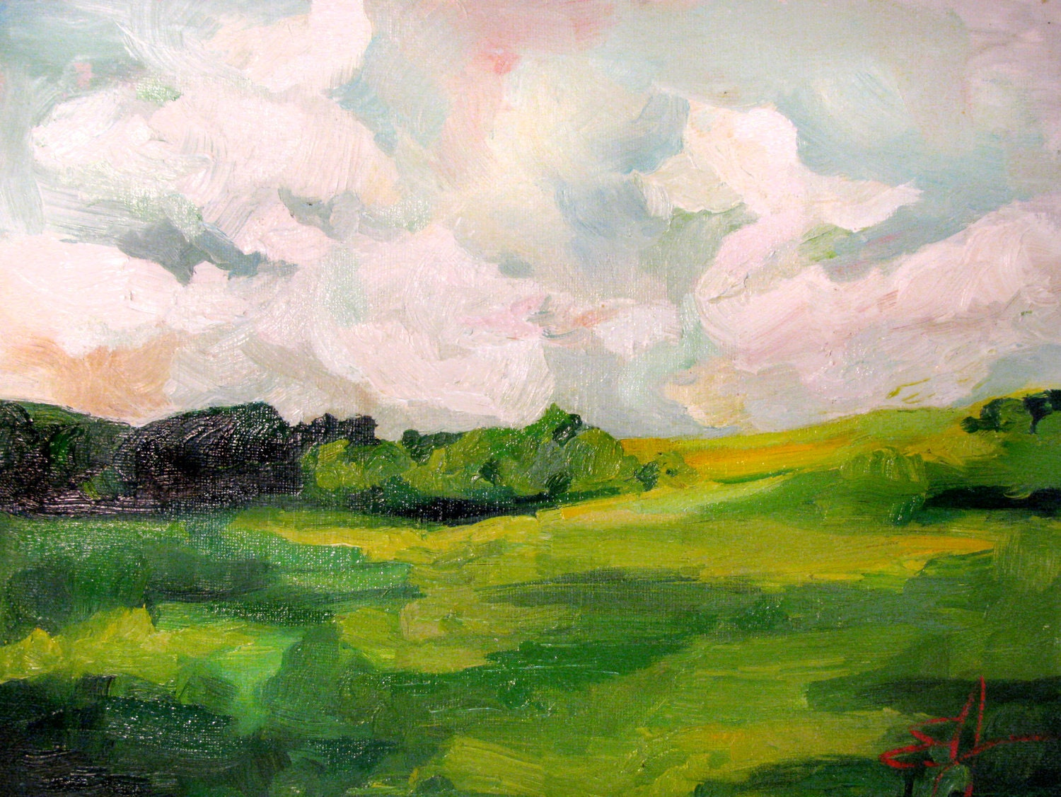 The Grass Looks Greener When the Sky Dances An Original Oil Landscape Painting by Emily Jeffords