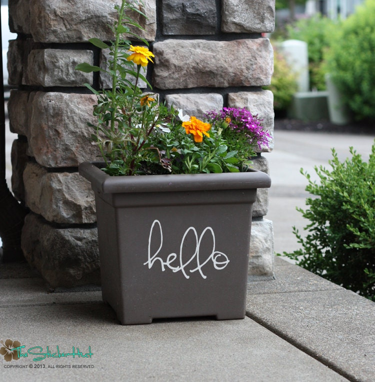 Foyer Planter Box : Hello front door entryway porch planter box decor by