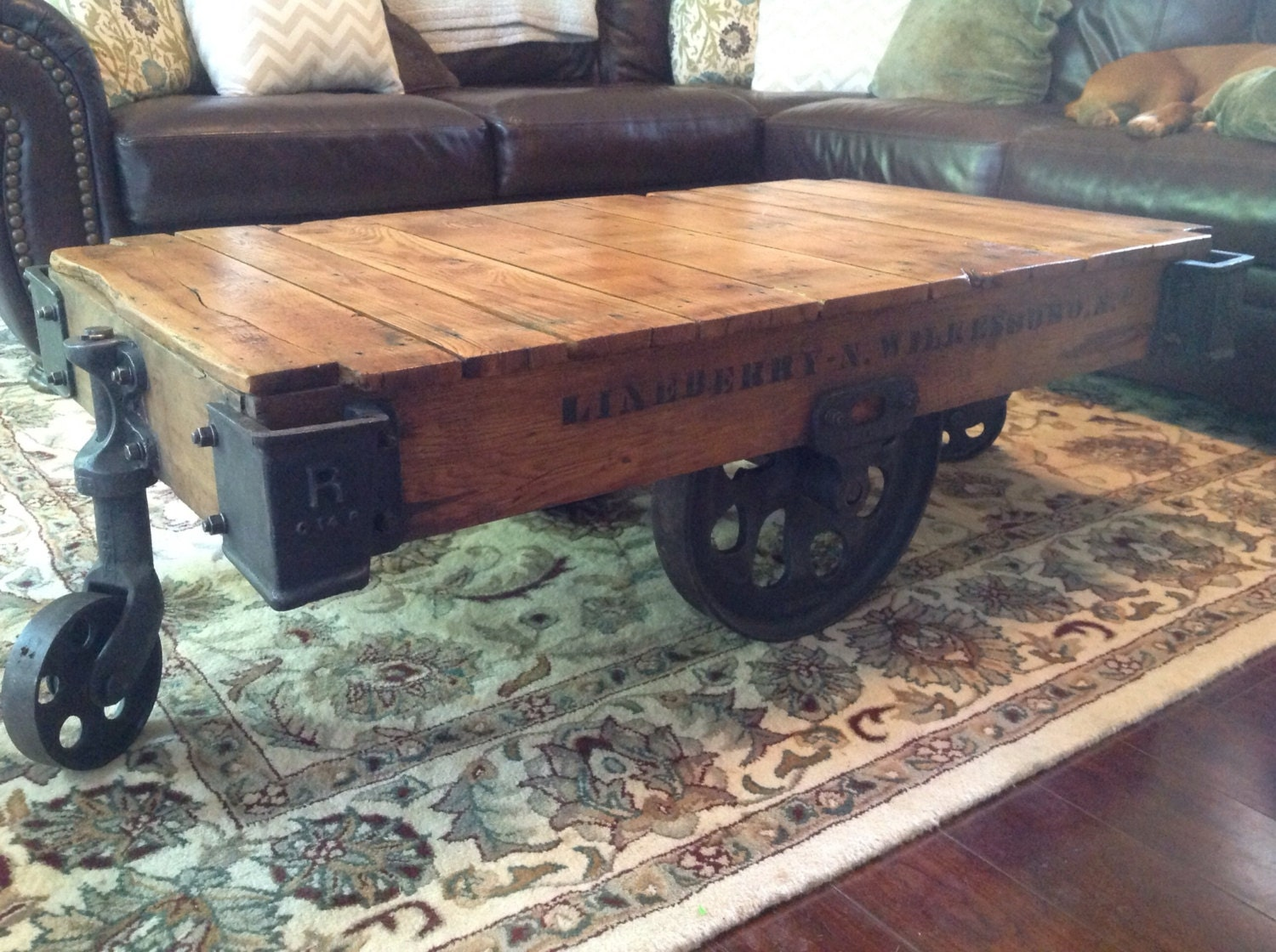 Fully Restored Vintage Industrial Lineberry Factory Cart Coffee Table - VintageHouseCreation