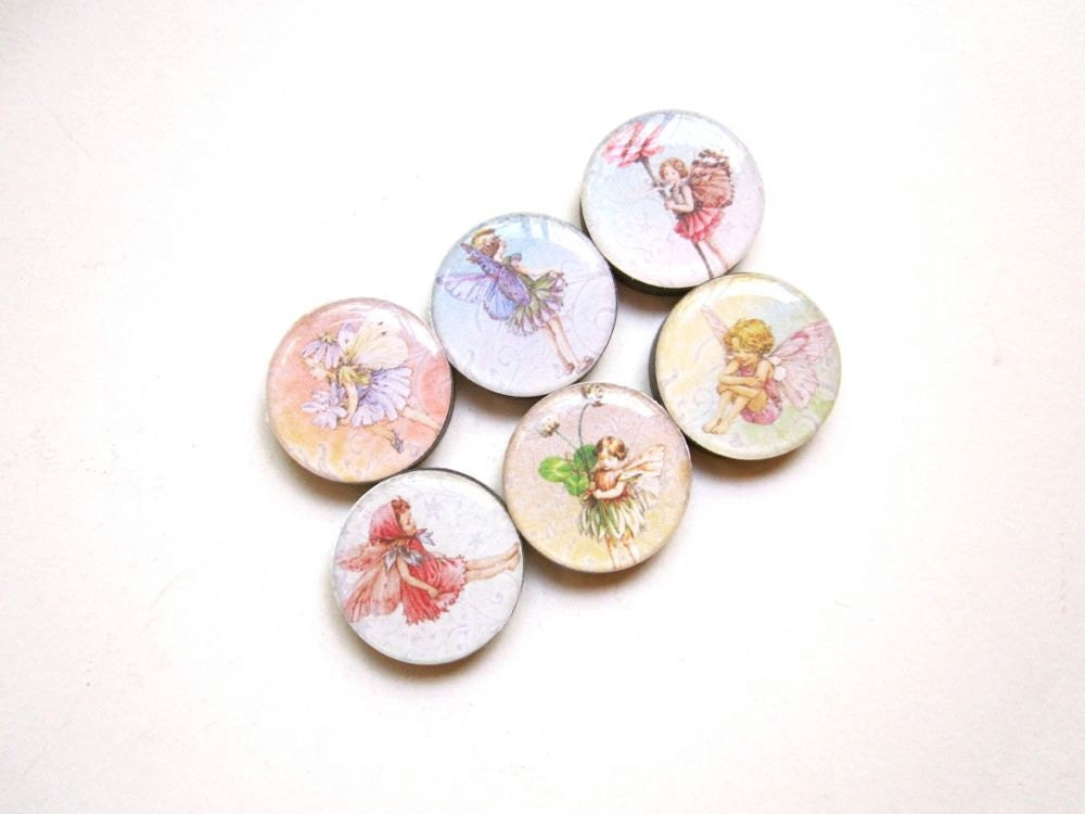 Fairies, Fairy Party, Fairy Magnets, Cyber Monday Sale, Set of 6 Magnets, Fairy Gift, Flower Fairies, Ceramic Magnet, Hostess Gift, Woodland - EveningEcho