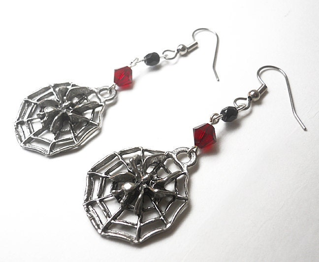 Spider earrings Gothic Halloween Spider webs Red, silver, and black