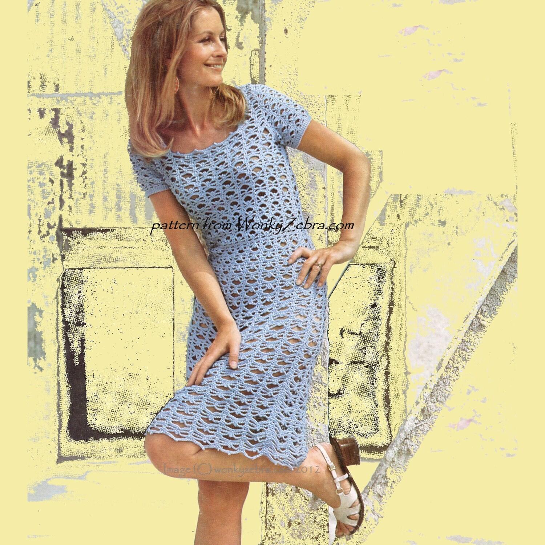 382 Short Sleeved tea Dress Vintage Crochet Pattern PDF from WonkyZebra
