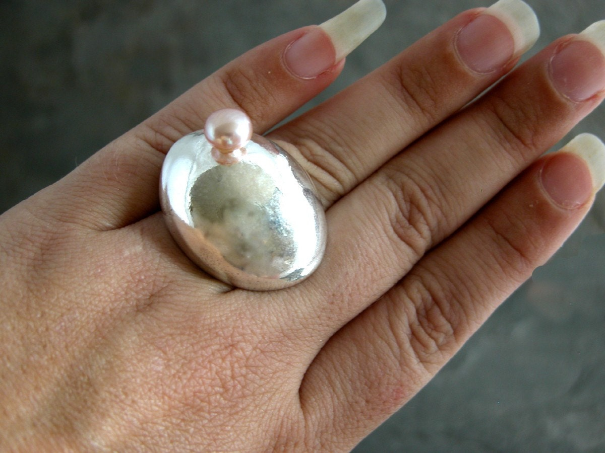 WISDOM DOMED RING OOAK Silver Concave Oval Ring by gazellejewelry