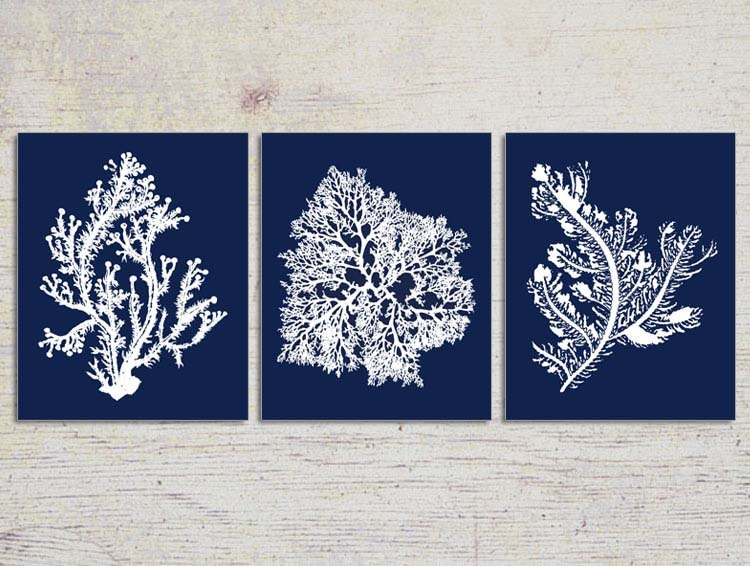 Blue coral wall art navy blue coral print by beachhousegallery for Blue wall art