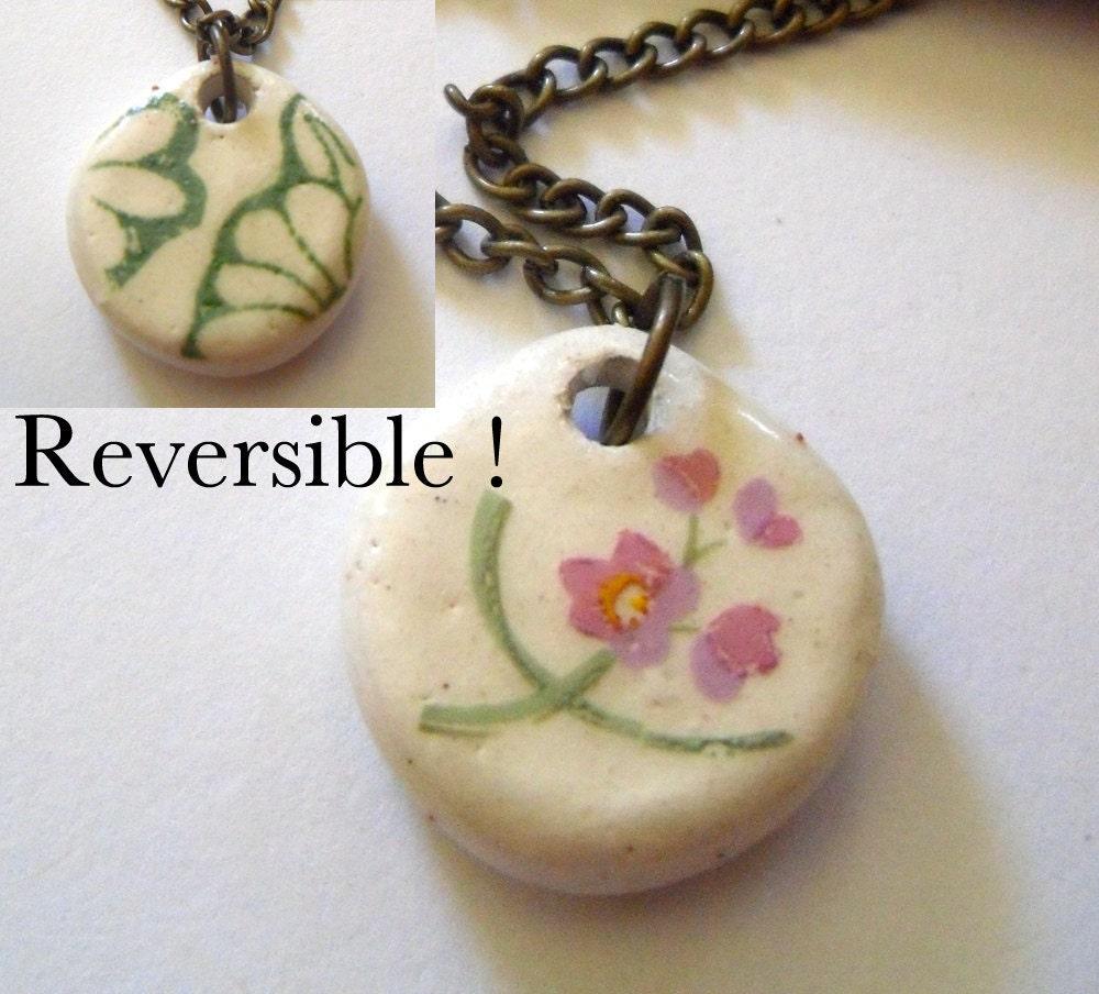 reversible anklet or bracelet, pink flower, green print