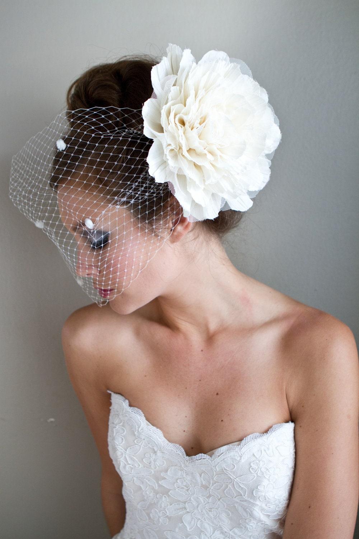 "Ivory ""Audrey"" Flower Birdcage Veil"