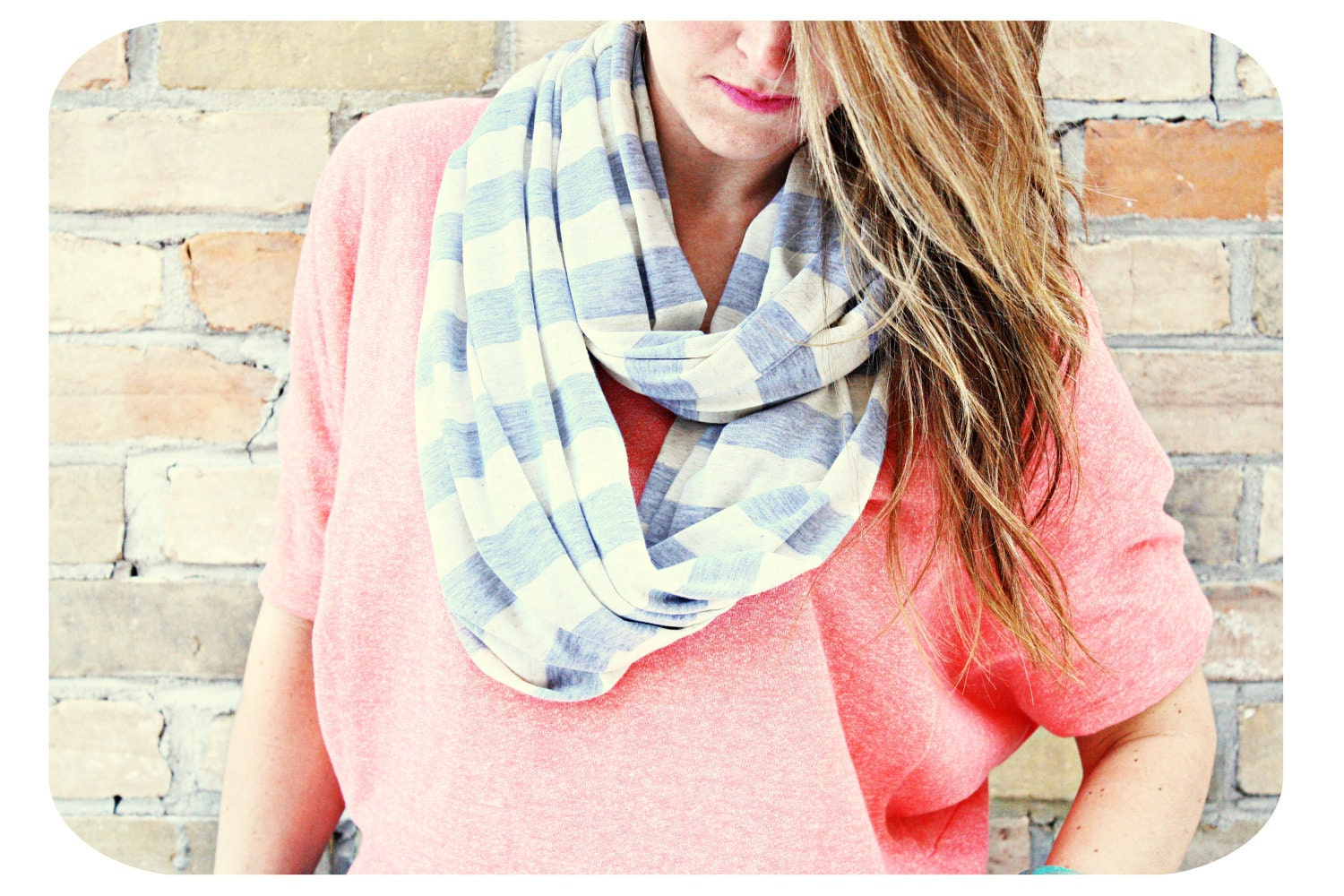 Striped Infinity Scarf - Spring Summer Infinity scarf in Grey / Cream stripes.  Circle Scarf, Eternity Scarf, loop scarf, tube scarf,