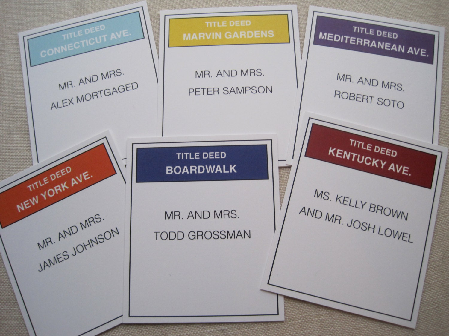 Monopoly Title Deed Escort Cards by theoriginalpear on Etsy