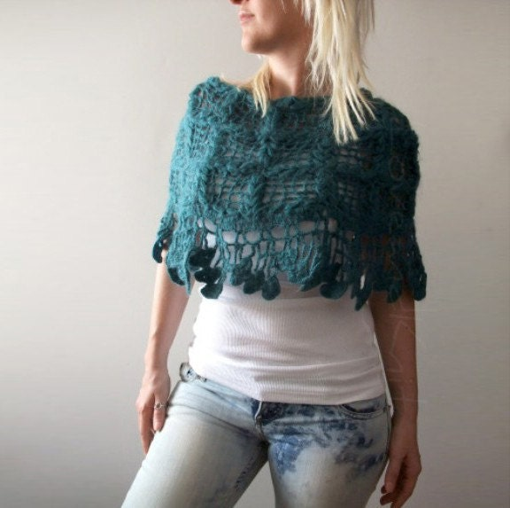 Teal Mohair Poncho