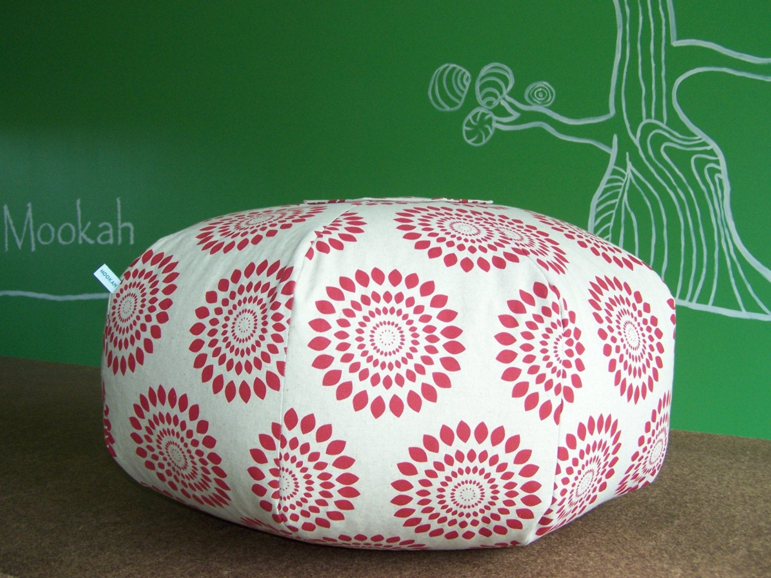 Hand Printed Floor Cushion in Unbleached Cotton/Linen - Sumor Print