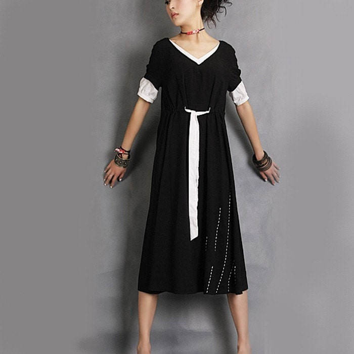 Rain embroidered long dress (Q1003)