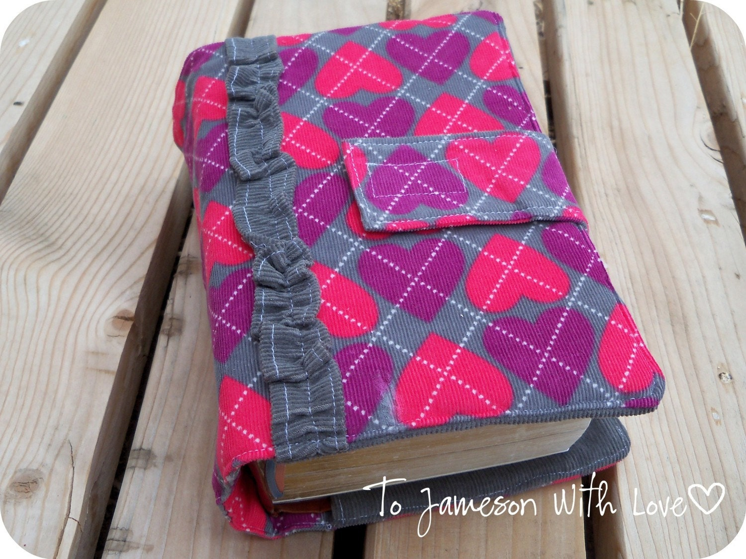 LDS Quad Scripture Cover Pink and Purple Argyle Hearts