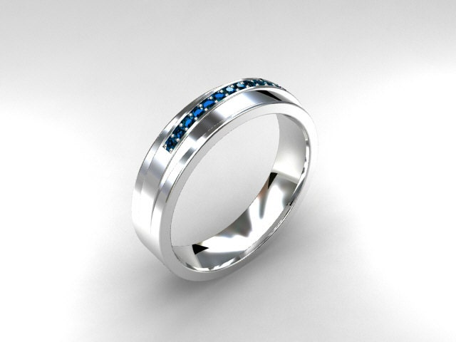 Sky blue diamond ring men wedding band white by for Mens wedding ring with blue diamonds