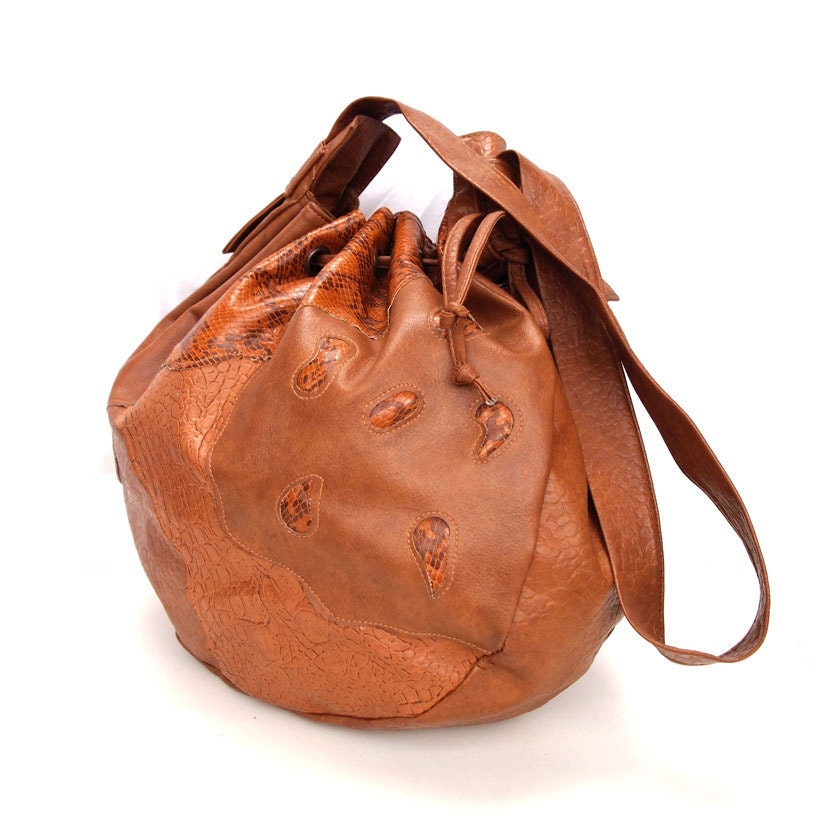 Daphne, French Vintage, 1970s Tan Satchel, Snakeskin Drawstring Bag, Handbag from Paris - dandeliondaydreamer