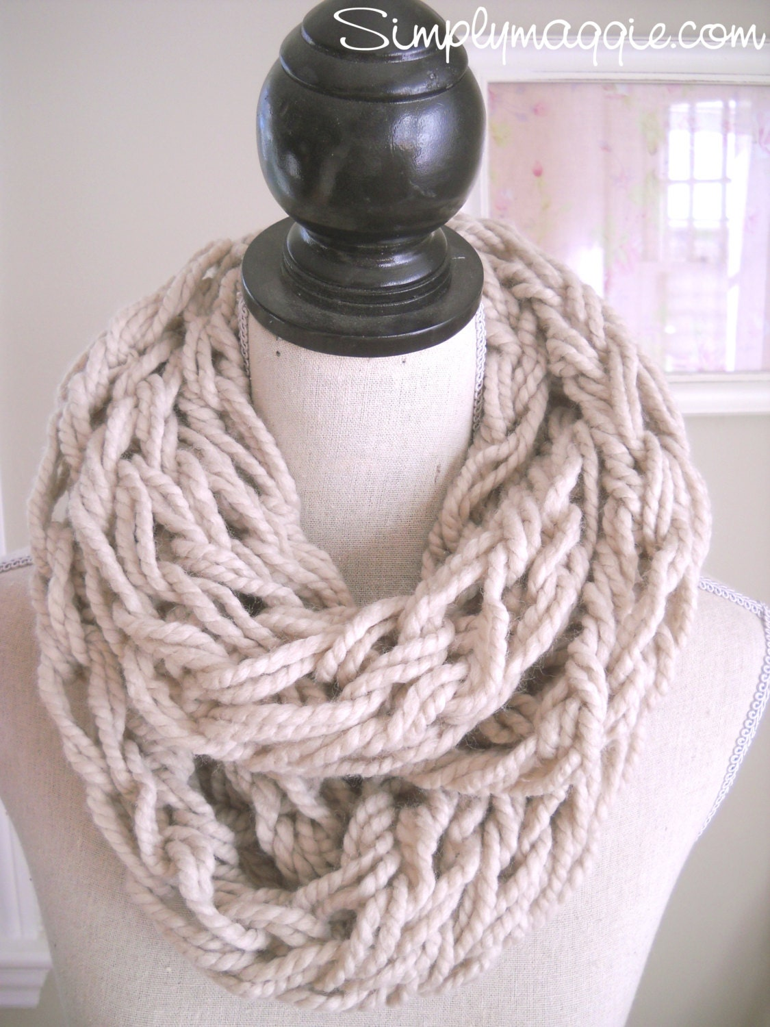 Arm Knitting Infinity Scarf : Taupe arm knit infinity scarf by thevelvetcove on etsy