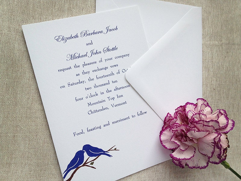 Bluebirds of Happiness Love Bird Wedding Invitations