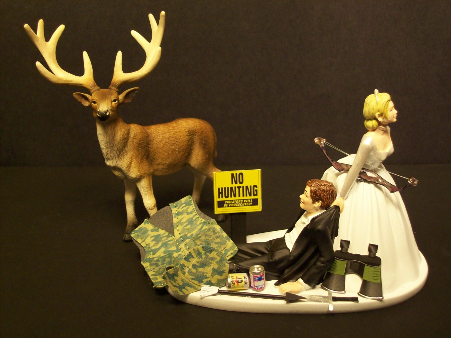 NO HUNTING DEER with Bow and Arrow Bride and Groom by