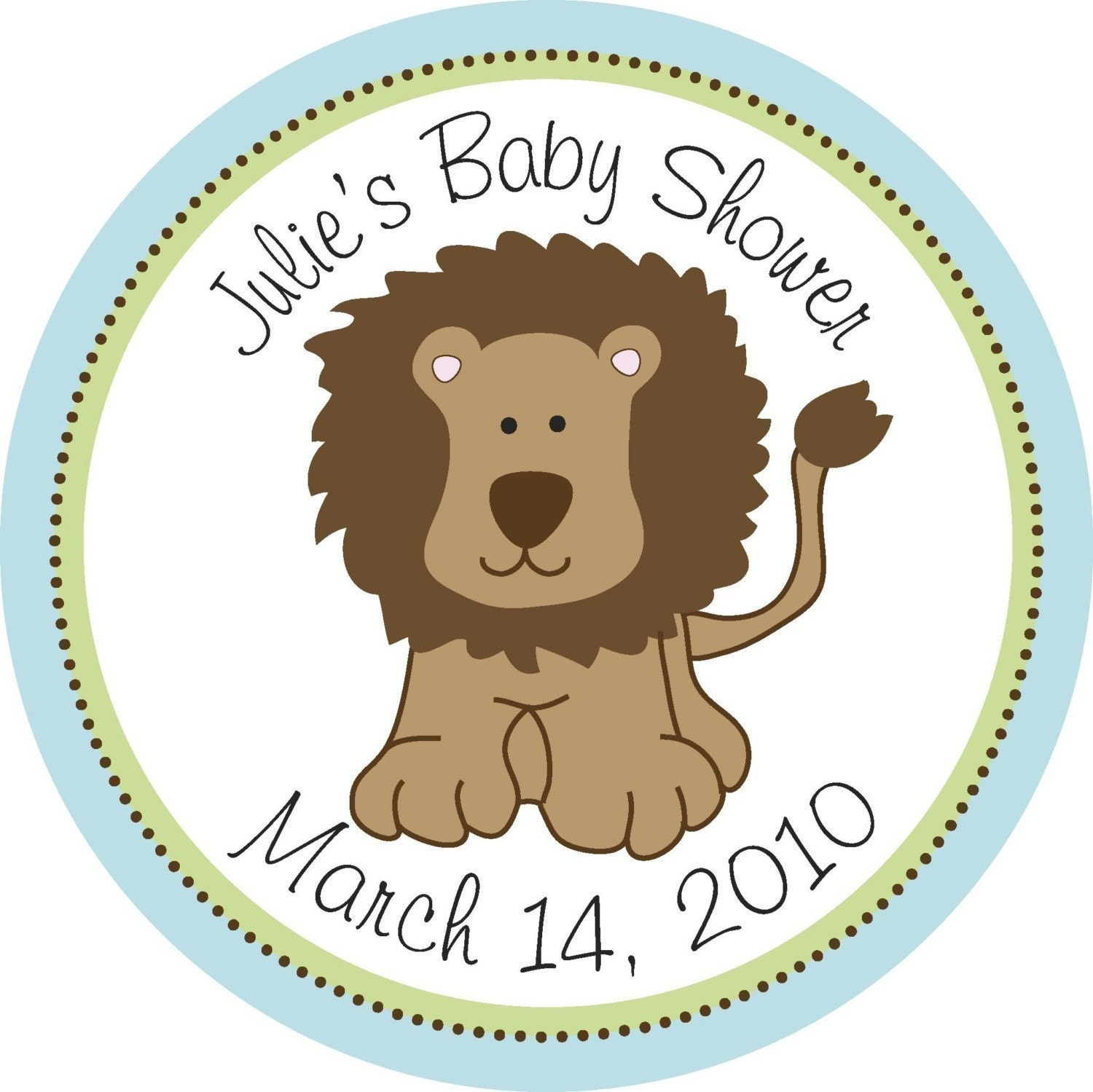 personalized stickers baby shower stickers lion sticker favor bag