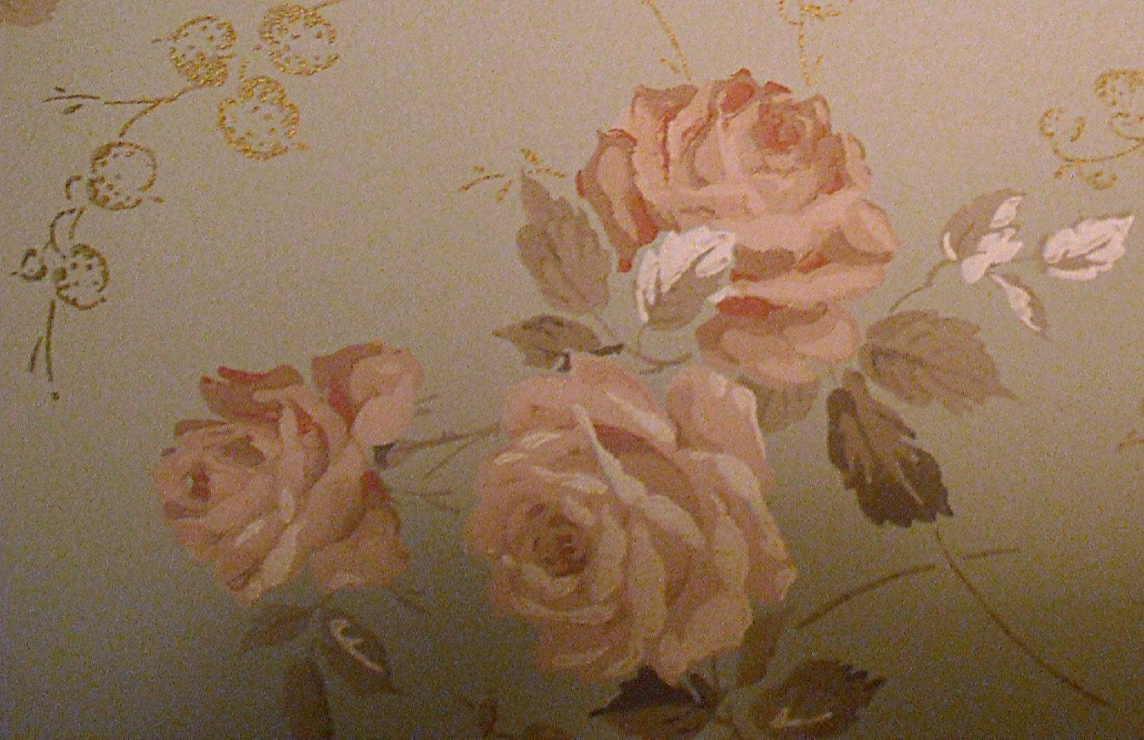 3 Yards of Vintage Shabby Chic Wallpaper, Pink and Aqua with Roses