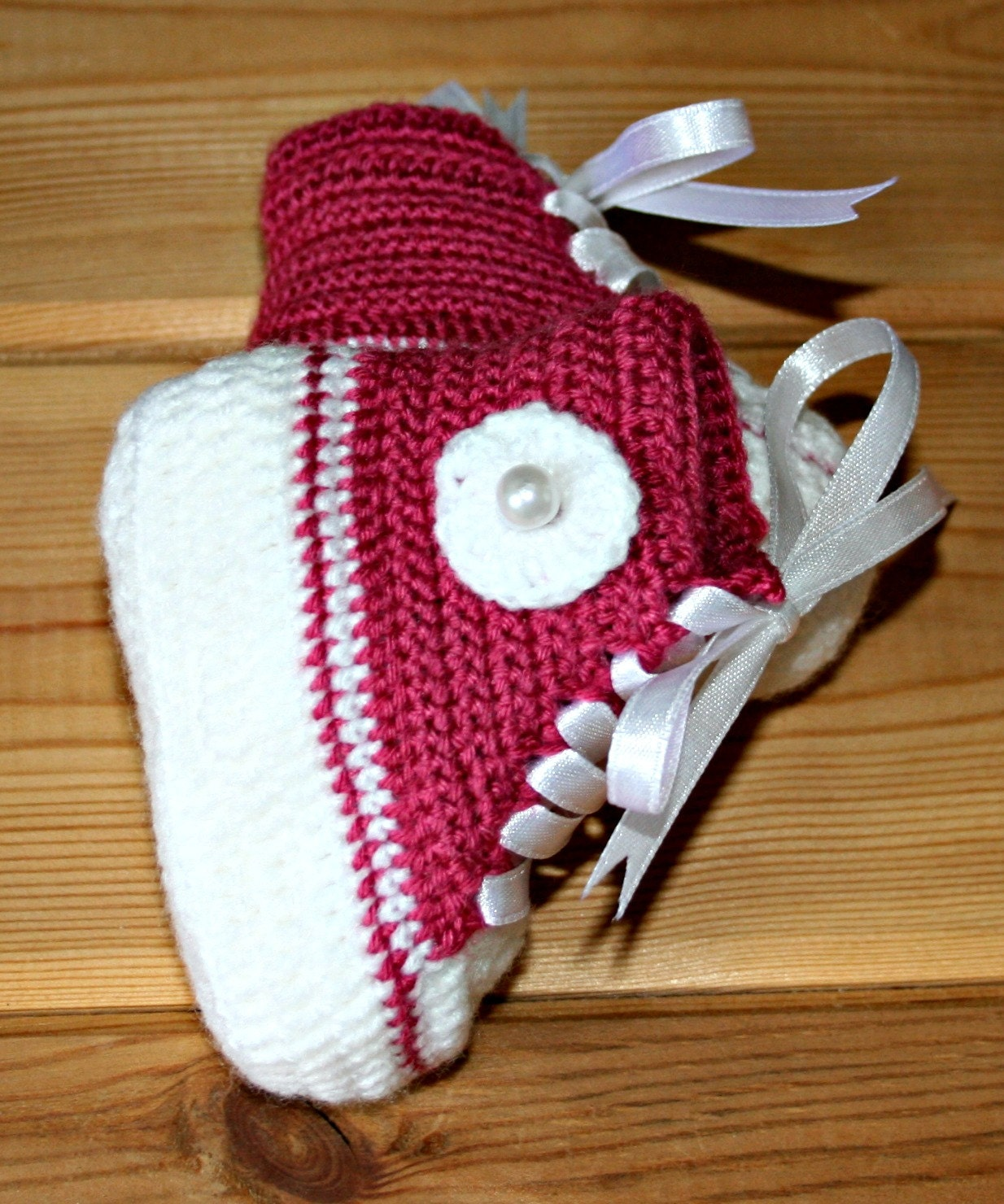 Newborn baby girl handmade crochet high top converse style booties in raspberry pink & white 0 to 3 mths by crochetyknitsnbits Gifts Layette - crochetyknitsnbits