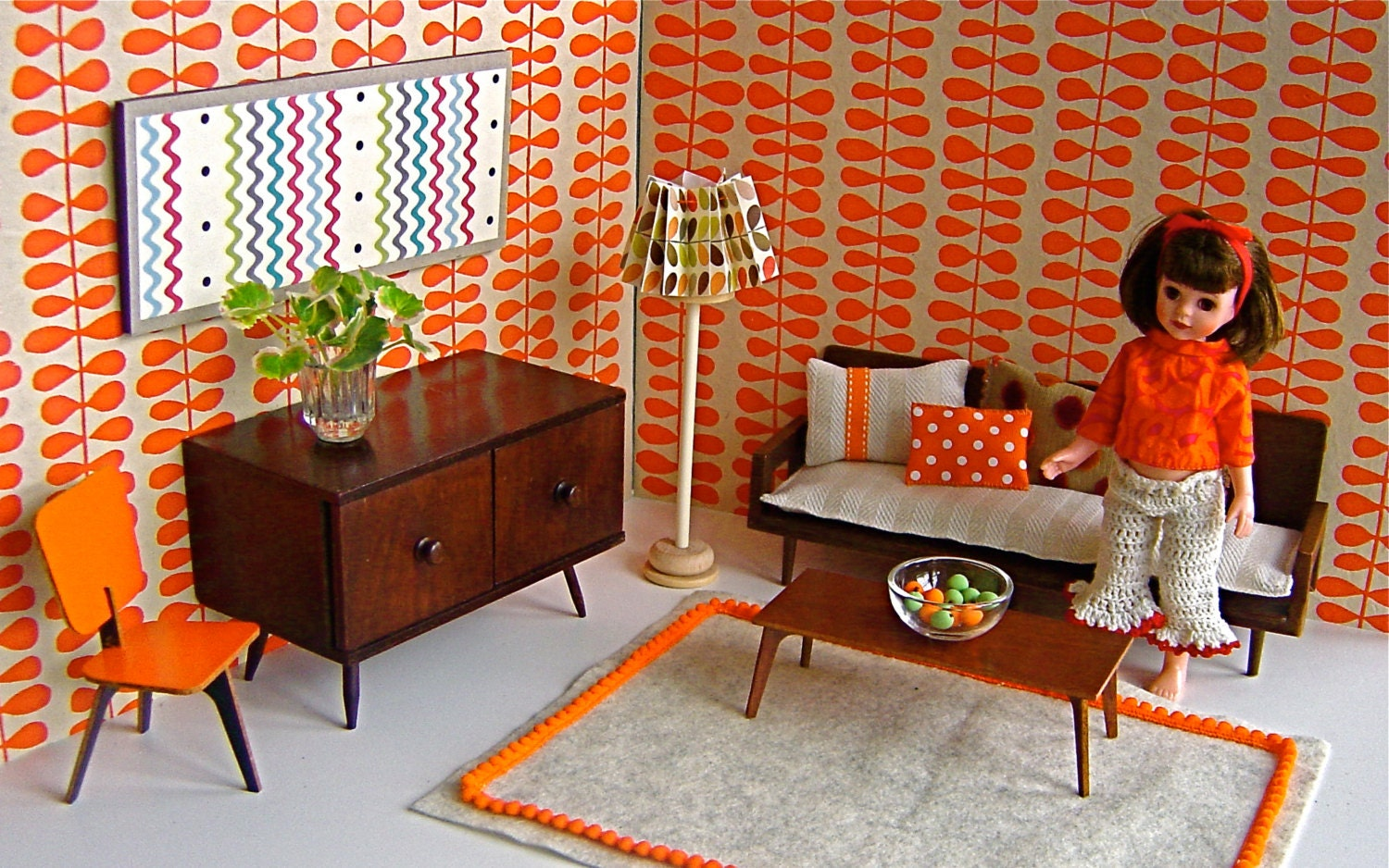 MATTEL DOLL SOFA and Halls Lifetime Toys sideboard in Mid Century Room for Betsy McCall, Ginny, Blythe, Riley Kish, Sindy,