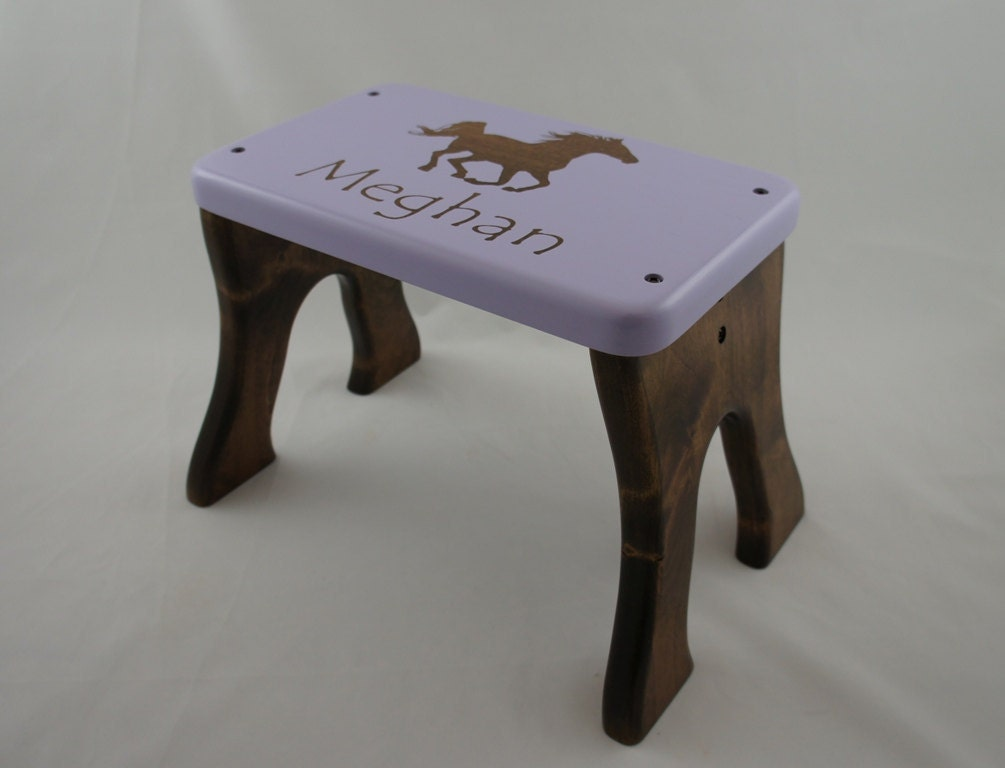 Tall Horse Step Stool Alder Wood Personalized By Laffydaffy