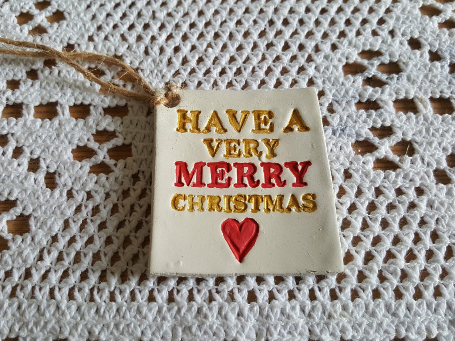 12 Handmade  Hand painted CLAY Christmas Gift TagsTree Decorations
