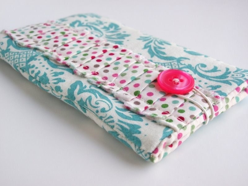 FREE  HOLIDAY SHIPPING - iPod, iPhone, Gadget case in Aqua Damask and polka  dot