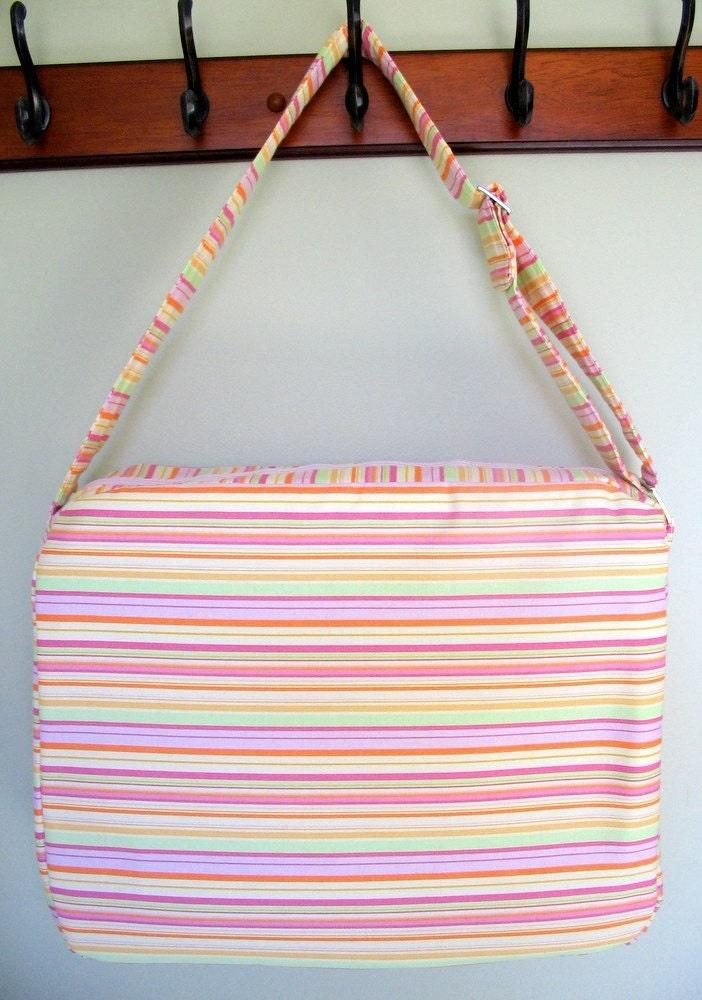 pink striped laptop messenger bag pastel