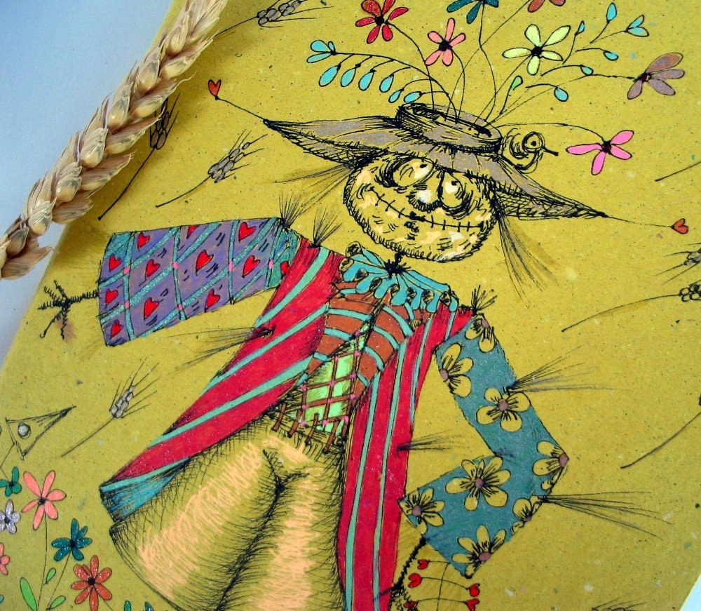Ecological Recycled Yellow OOAK Squared notebook-A Scarecrow and The good harvest