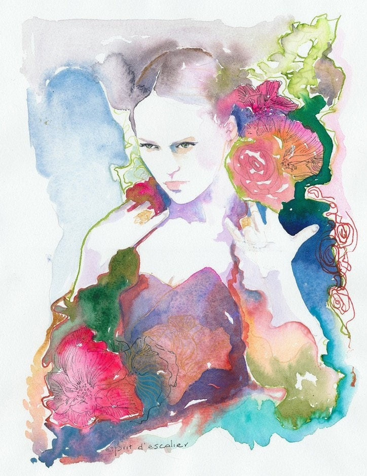 Watercolor Fashion Illustration - Esprit d'escalier