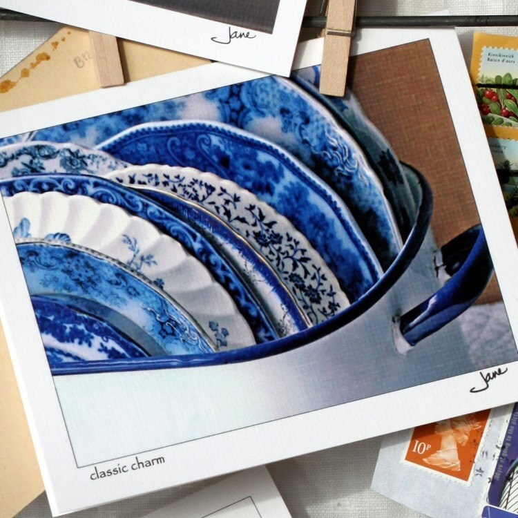 Flow Blue plates from the Vintage Plate Collection- Classic Charm, an original note card