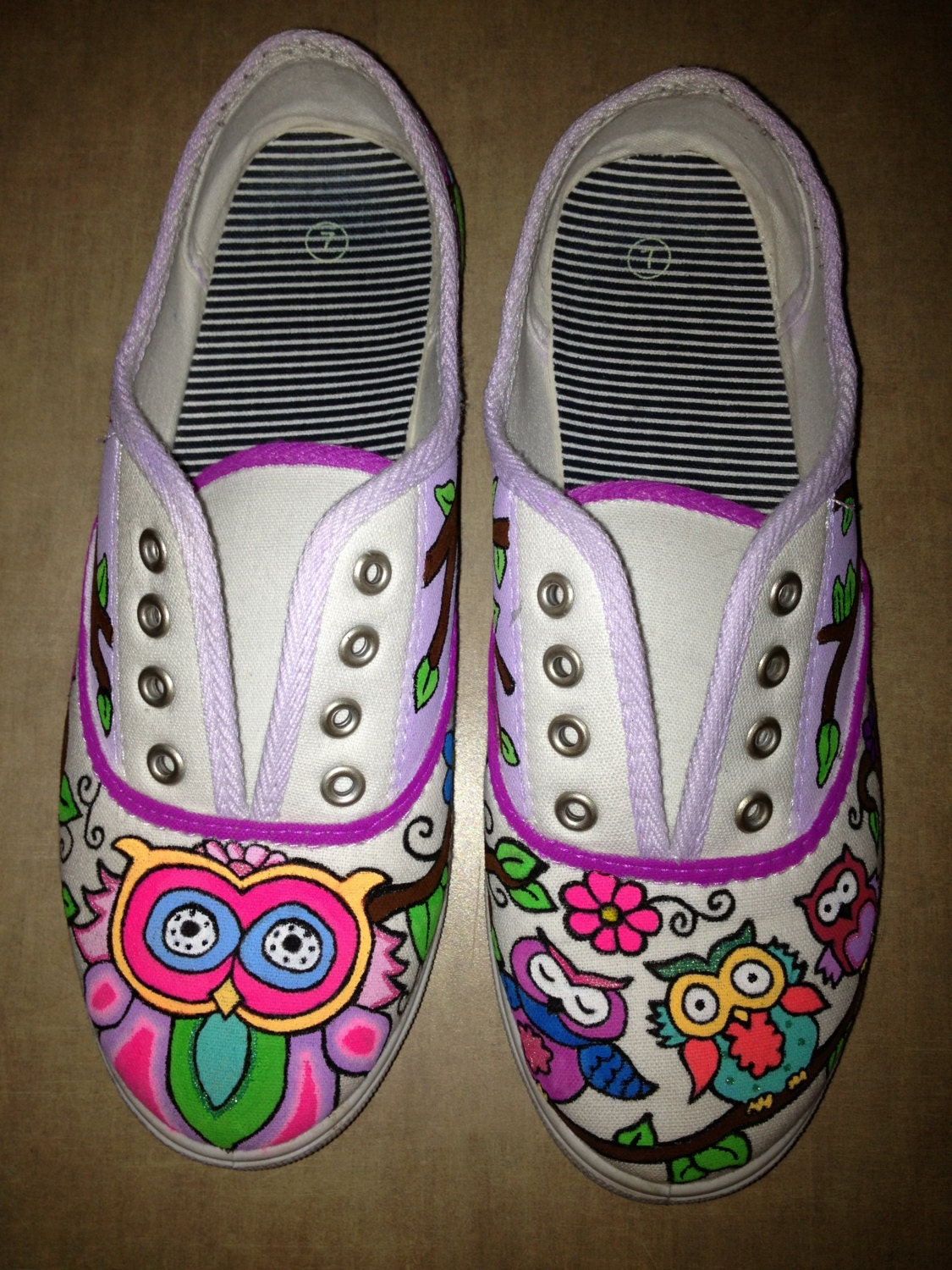 items similar to owls branches custom painted shoes