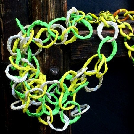 recycled necklace lemon lime tea with citrus chain by frankideas