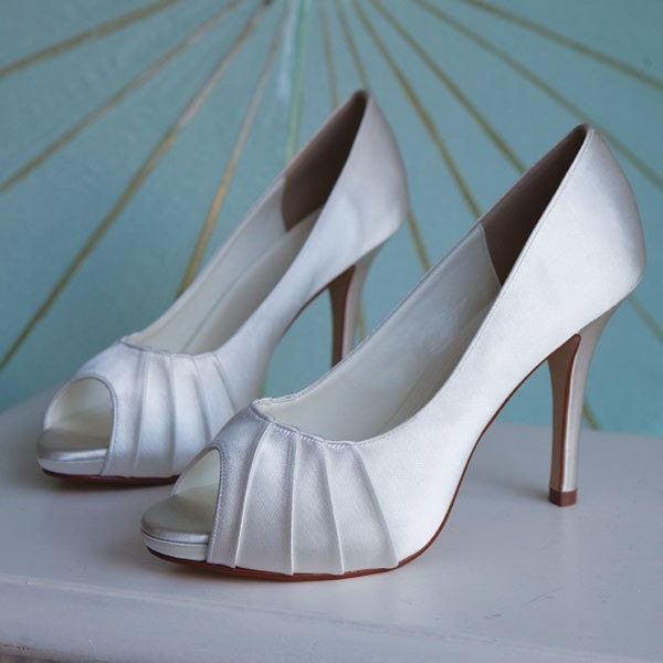 Ivory 4 1/8 Inch Platform Satin Shoe...Ready To Embellish...Here comes The Bride