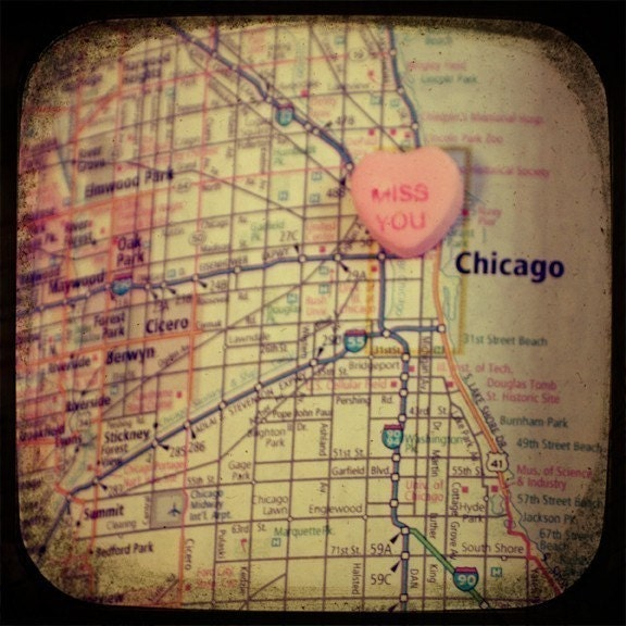 miss you chicago candy heart map art 8x8 ttv photo print - free shipping