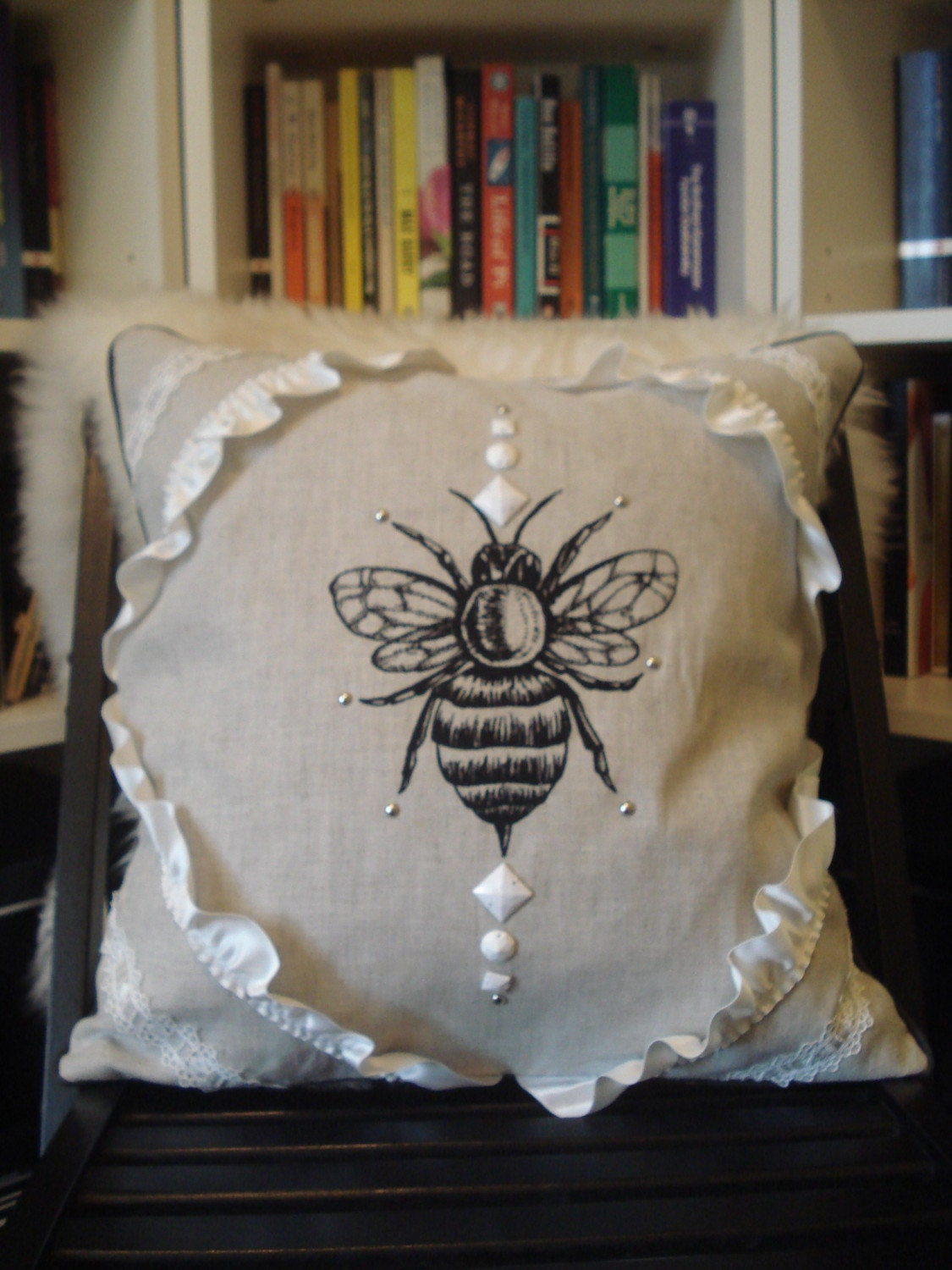 Linen and Cotton Bee Throw Pillow Cover by eva by evakatharina from etsy.com