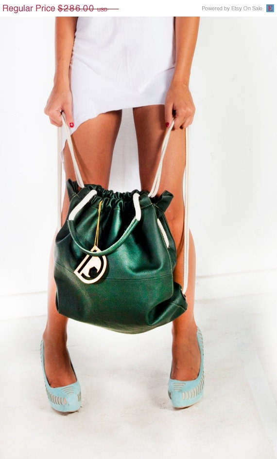 New year SALE Lamb Leather Backpack/ Tote, Bottle Green Color , JUD Hand Made,Fashion,Gym, Laptop, Luxury, Cool, Travel, Shopping, unisex, - JUDtlv